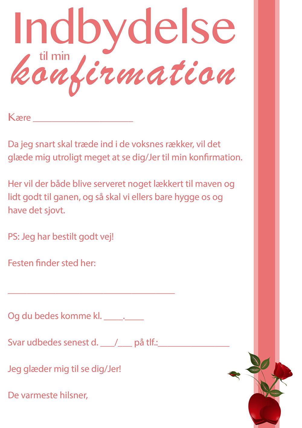 tekst til indbydelse til konfirmation