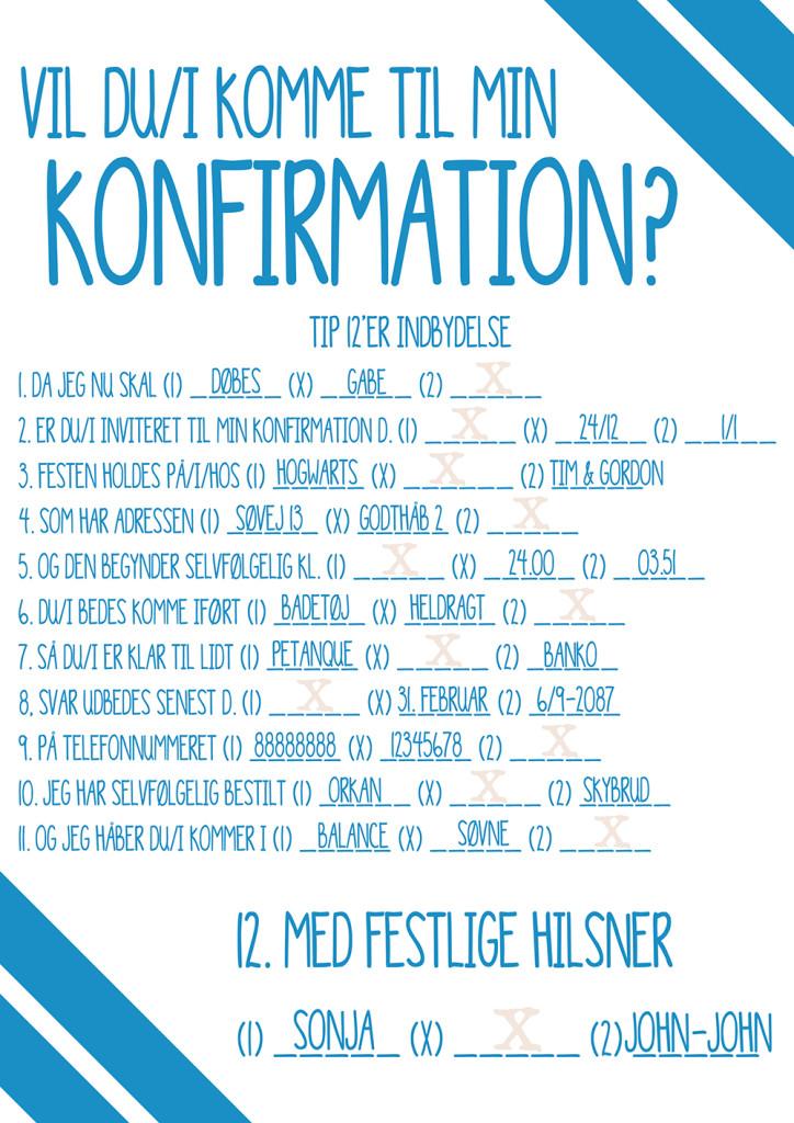 tip 12 indbydelse konfirmation